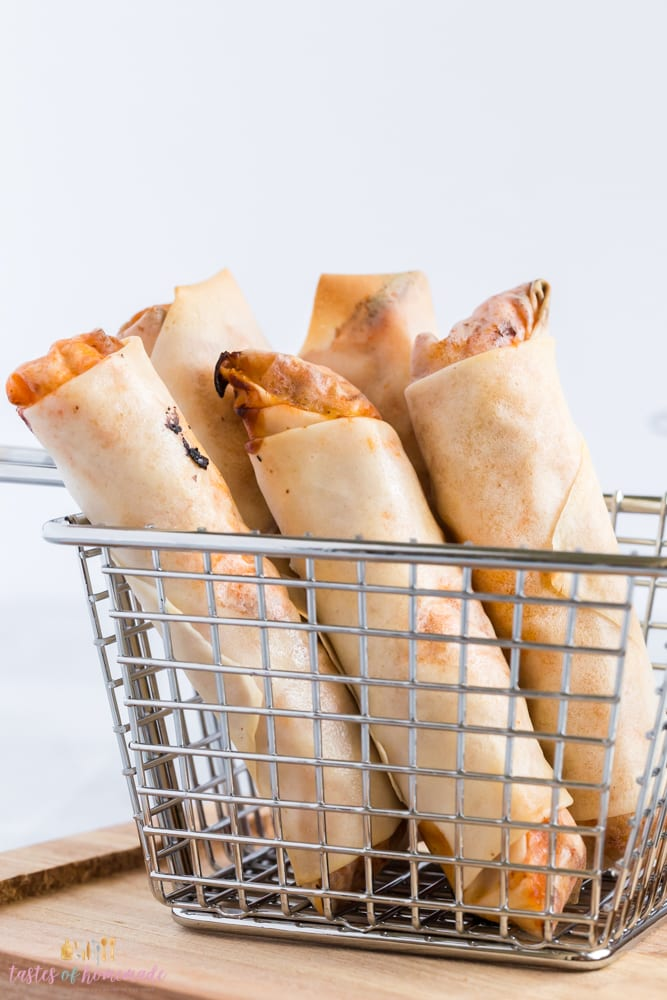 Air fryer buffalo chicken spring rolls