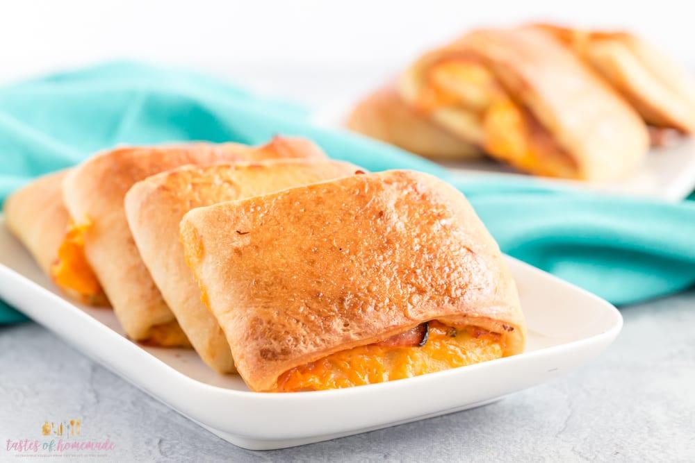 Ham and cheddar rolls