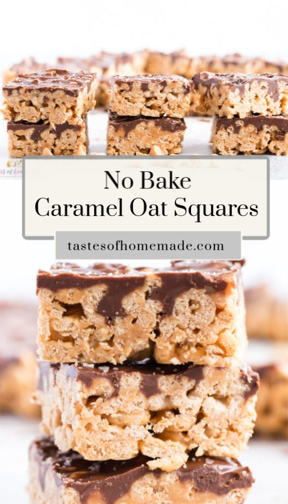 These no bake caramel oat squares come together quickly and easily.  With simple ingredients like oat cereal, marshmallows, butterscotch chips and peanut butter, they taste just like caramel.  Topped with a chocolate coating and finished with just a hint of salt.  These squares are perfect and addicting. #nobake #caramel #peanutbutter #oats #cheerios #easy #homemade #quick