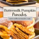 Pumpkin pancakes on a fork