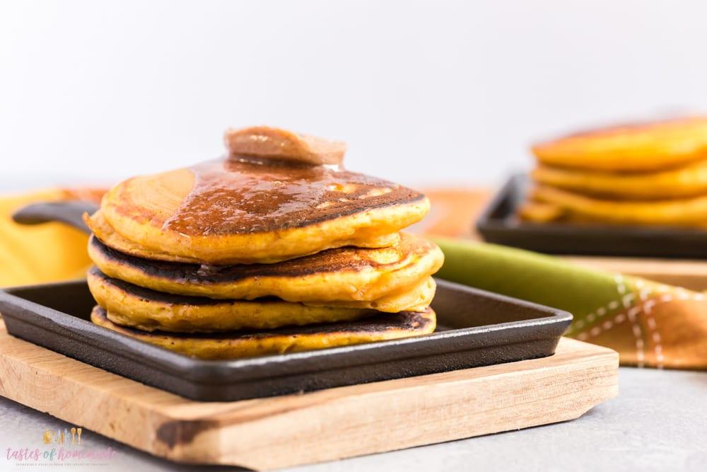Pumpkin pancakes on a cast iron skillet