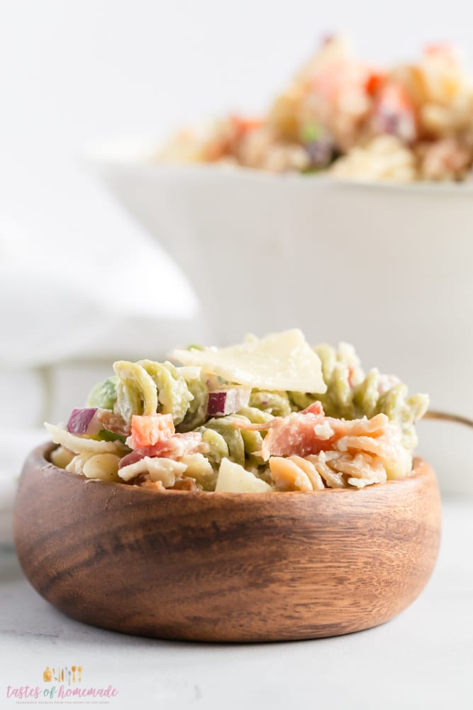 Bowl of bacon parmesan pasta salad