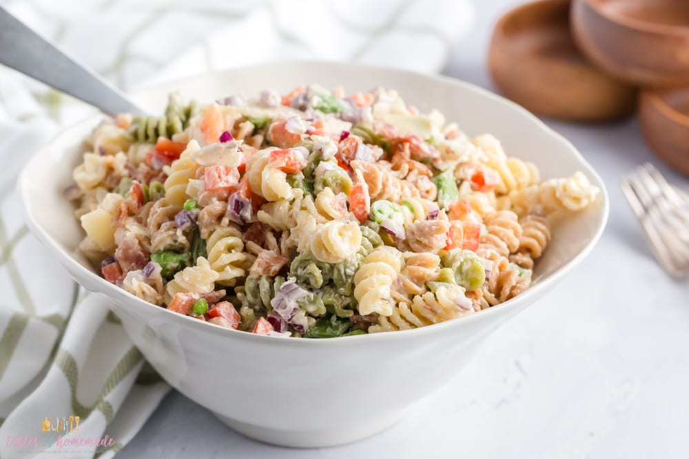 Pasta salad with bacon and parmesan cheese
