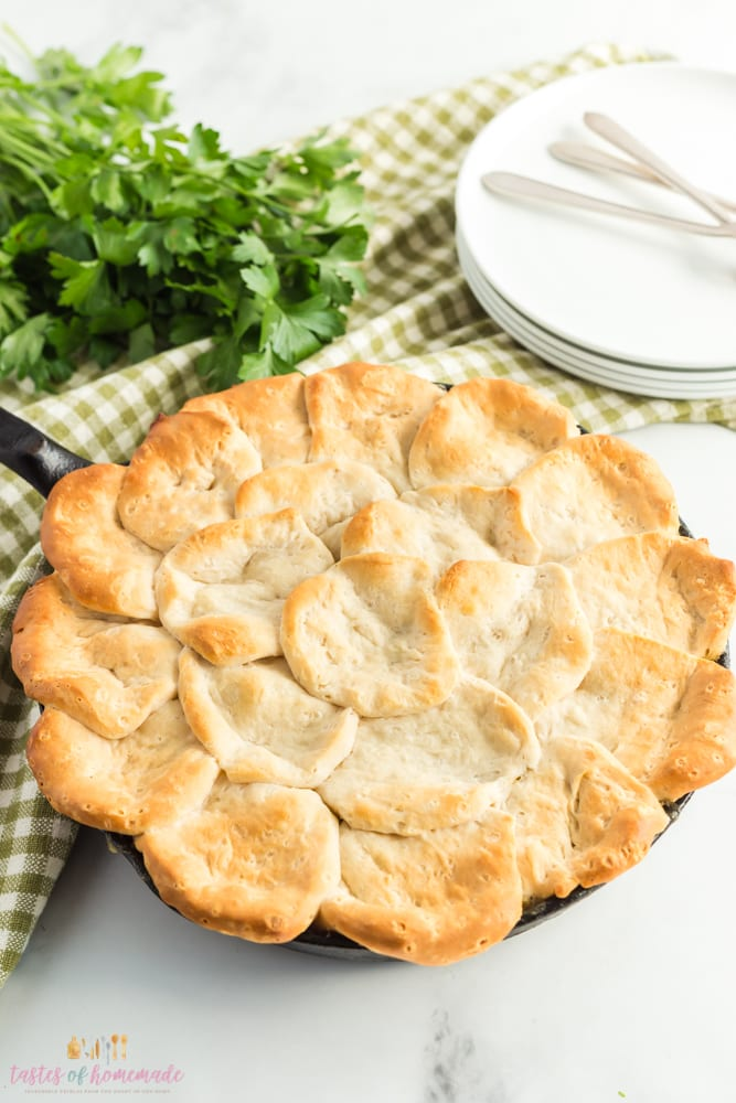 One pan chicken pot pie in a cast iron skillet