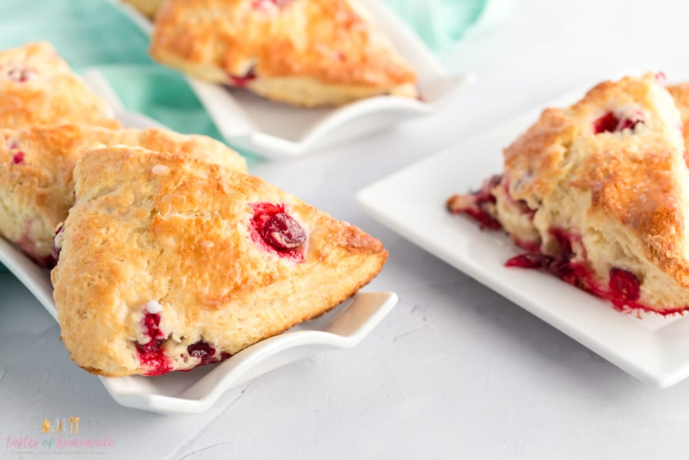 Cranberry scones on a platter