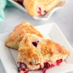 2 cranberry scones on a plate