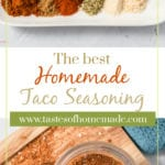 Taco seasoning in a jar