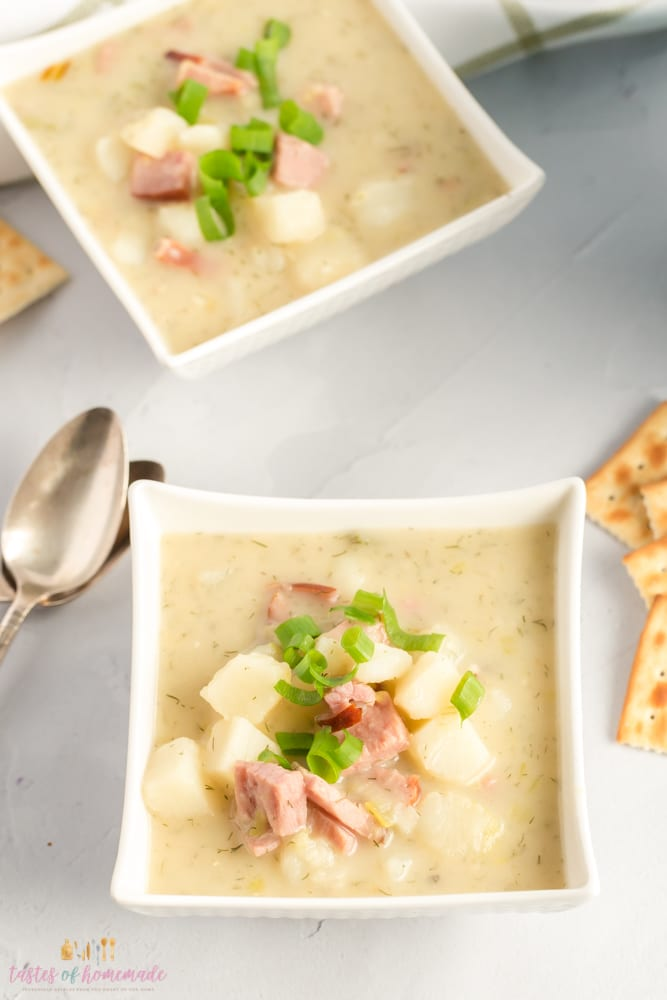 Creamy potato soup in a bowl