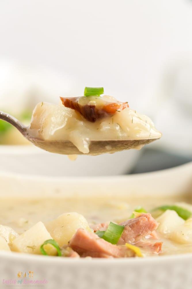Potato soup in a spoon