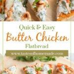 Sliced Butter Chicken Flatbread on a cutting board