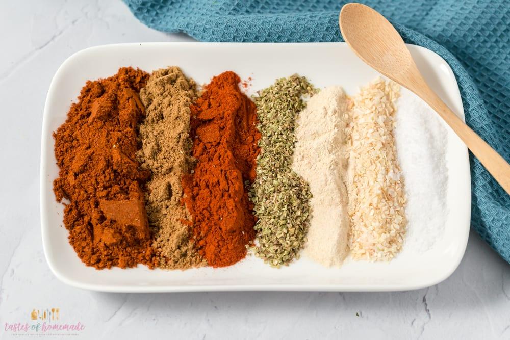 Seasonings on a plate