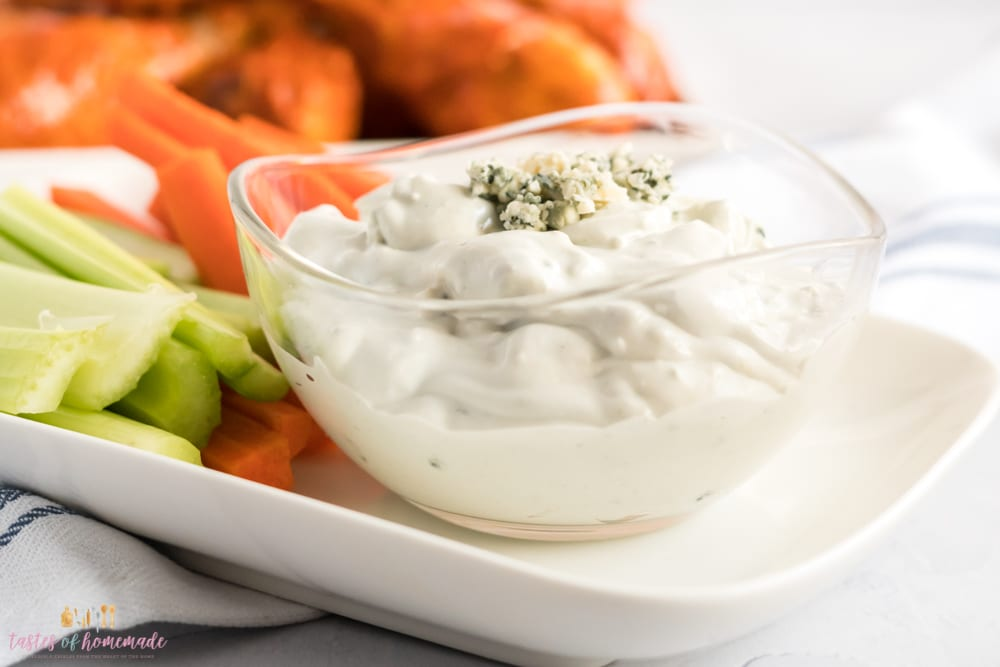 Blue cheese dip in a bowl