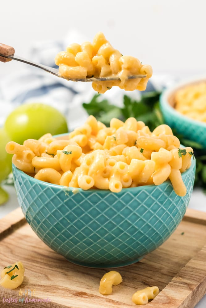 Mac and cheese on a fork