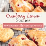 Cranberry scones on a cooling rack. A spoon of lemon icing is drizzling the scones.
