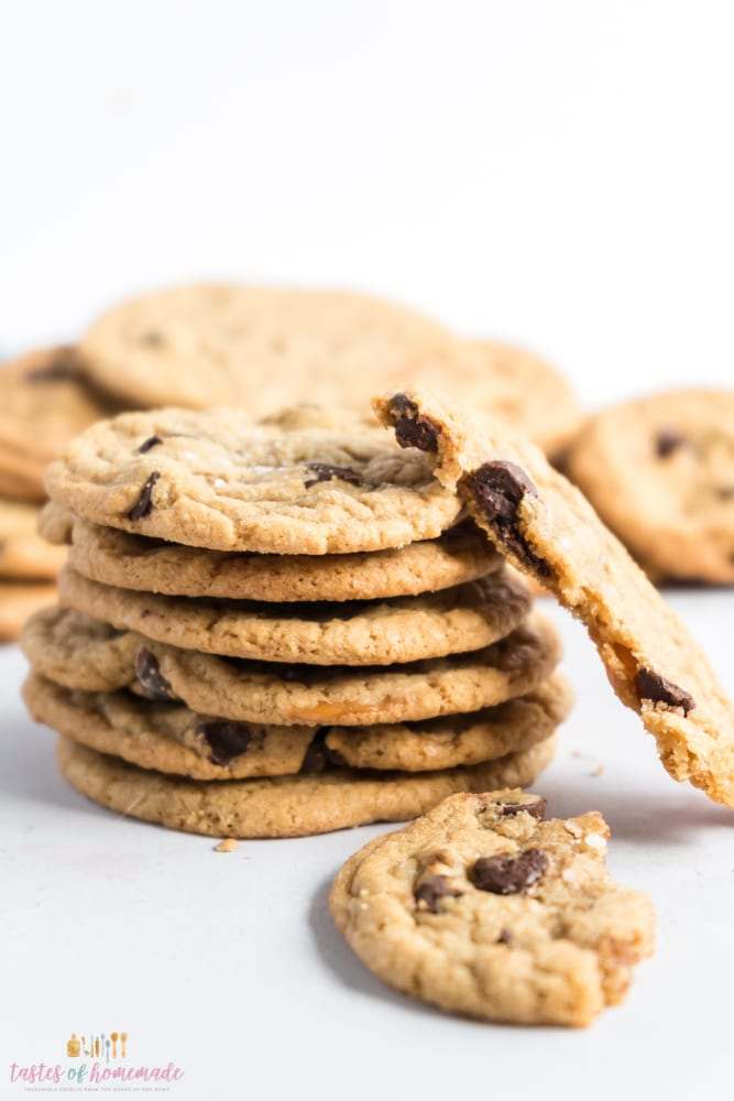 Cookies in a stack.