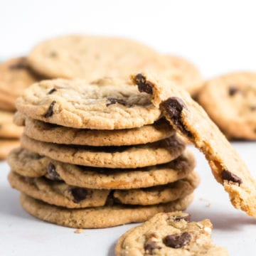A stack of chocolate chip caramel cookies