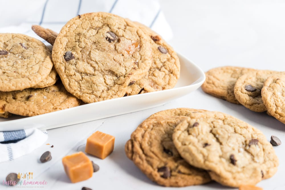 Cookies on a plate with caramels and chocolate chips