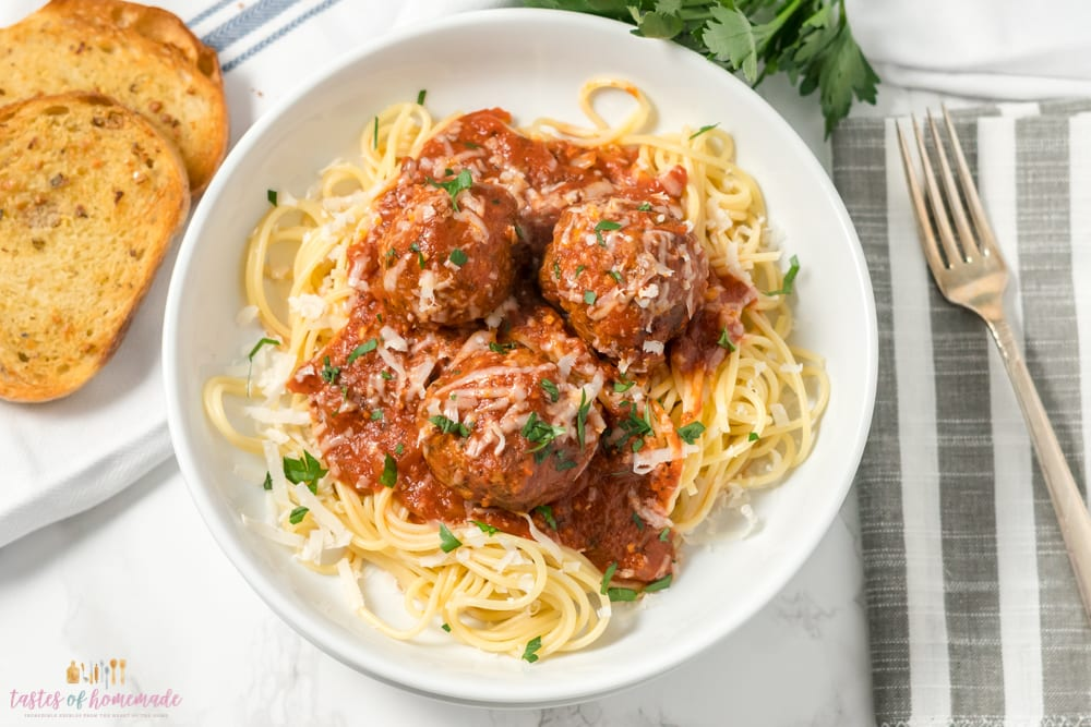 Spaghetti and meatballs in a bowl.