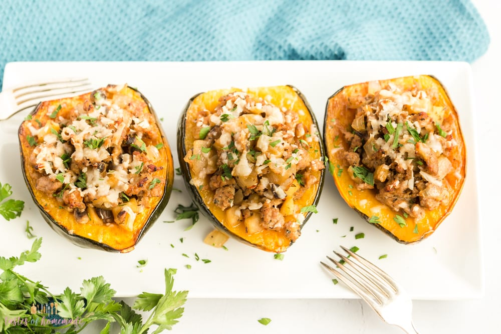 Roasted acorn squash stuffed with a savoury filling of sausage, mushrooms and apple.