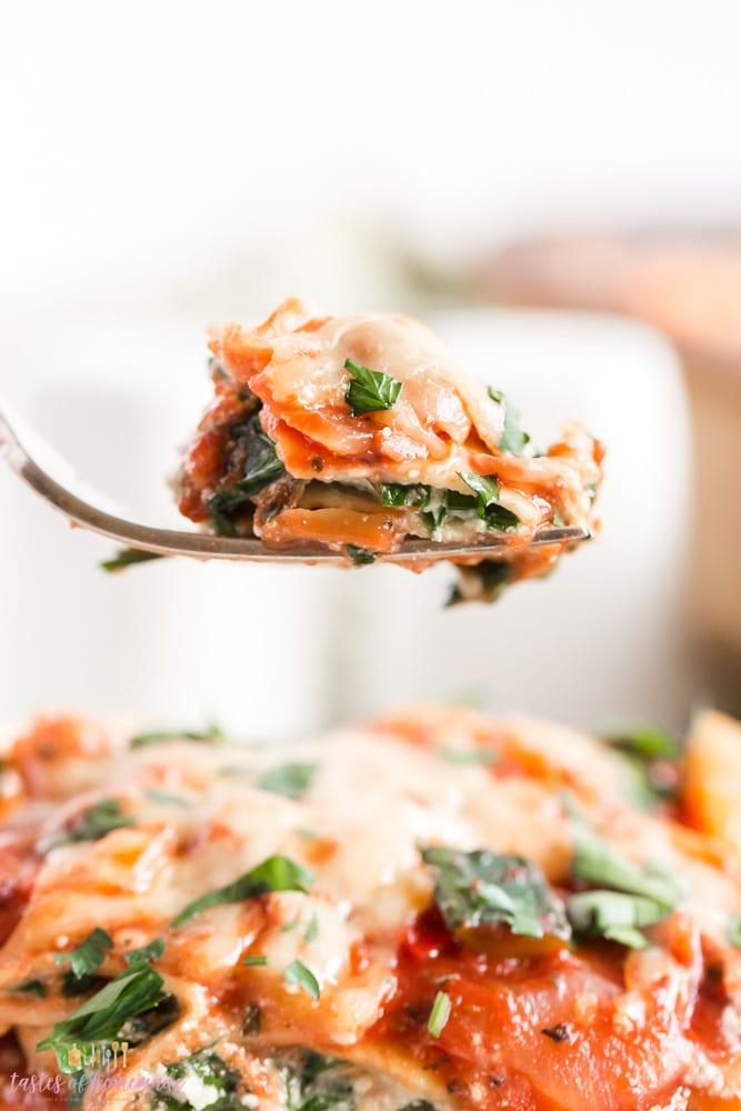 Bit of lasagna on a fork