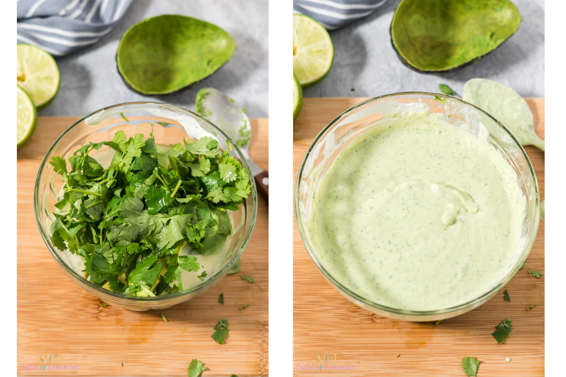 A bowl of yogurt, avocado, lime and cilantro sits on the left.
