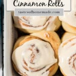 Iced cinnamon rolls in a pan