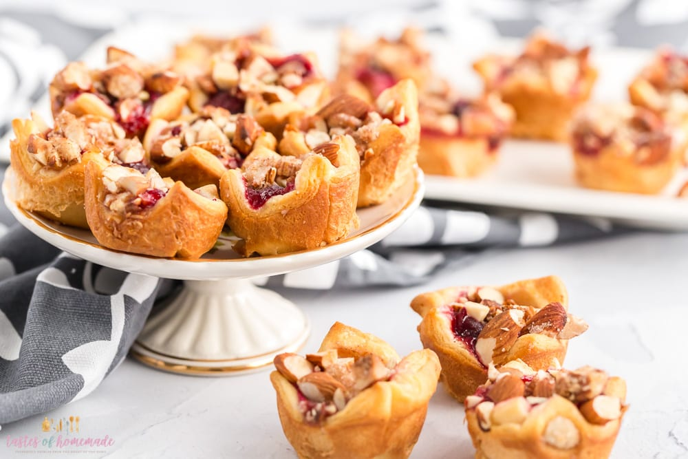 Cranberry goat cheese tarts on a small platter