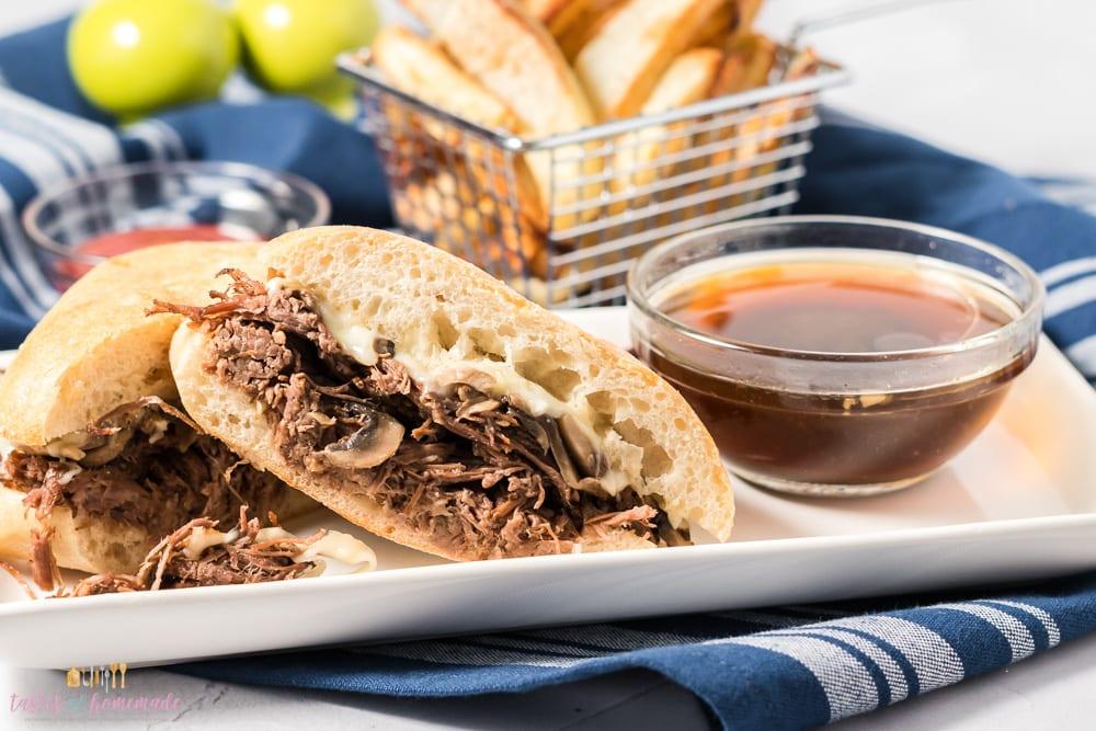 Beef dip sandwich on a plate