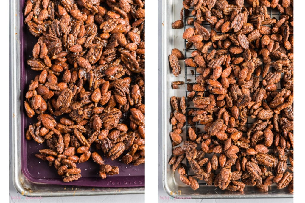 Candied nuts on a tray