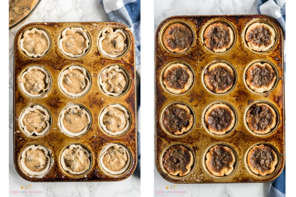 Butter tarts in a muffin pan