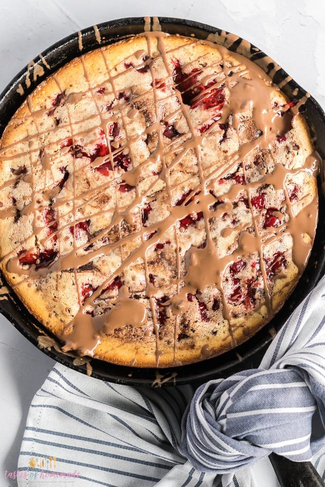 Overheat view of a black forest skillet brownie.
