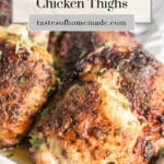 Crispy chicken thighs on a platter