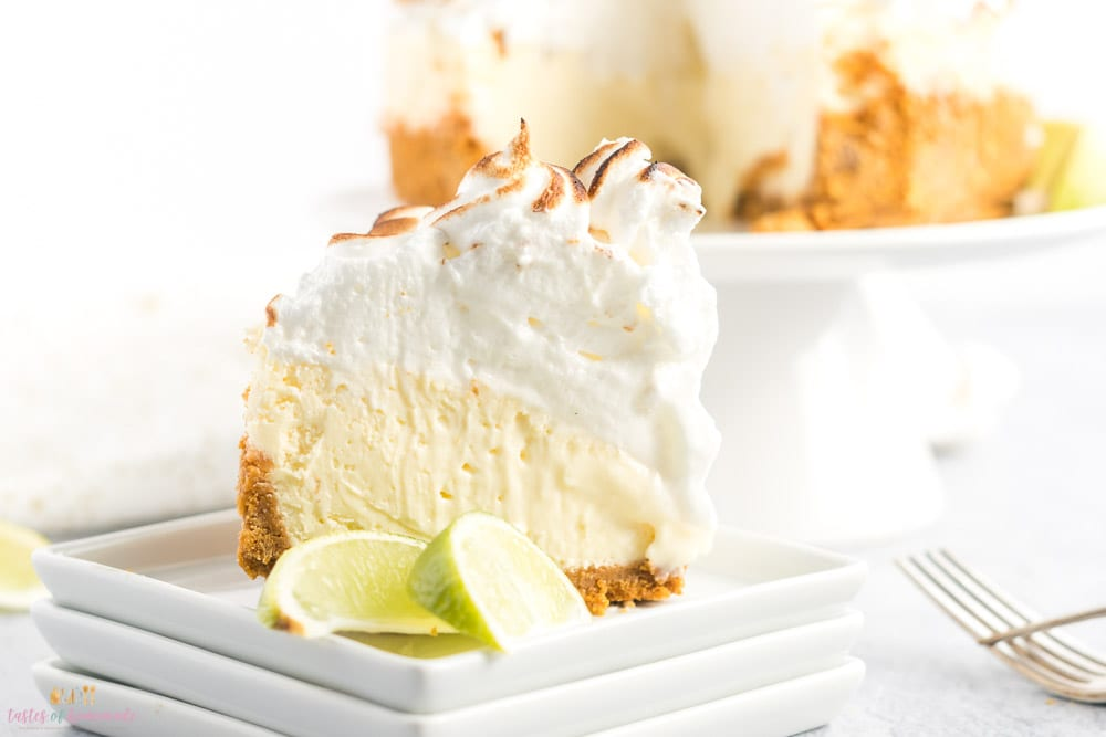Slice of lime cheesecake with toasted meringue