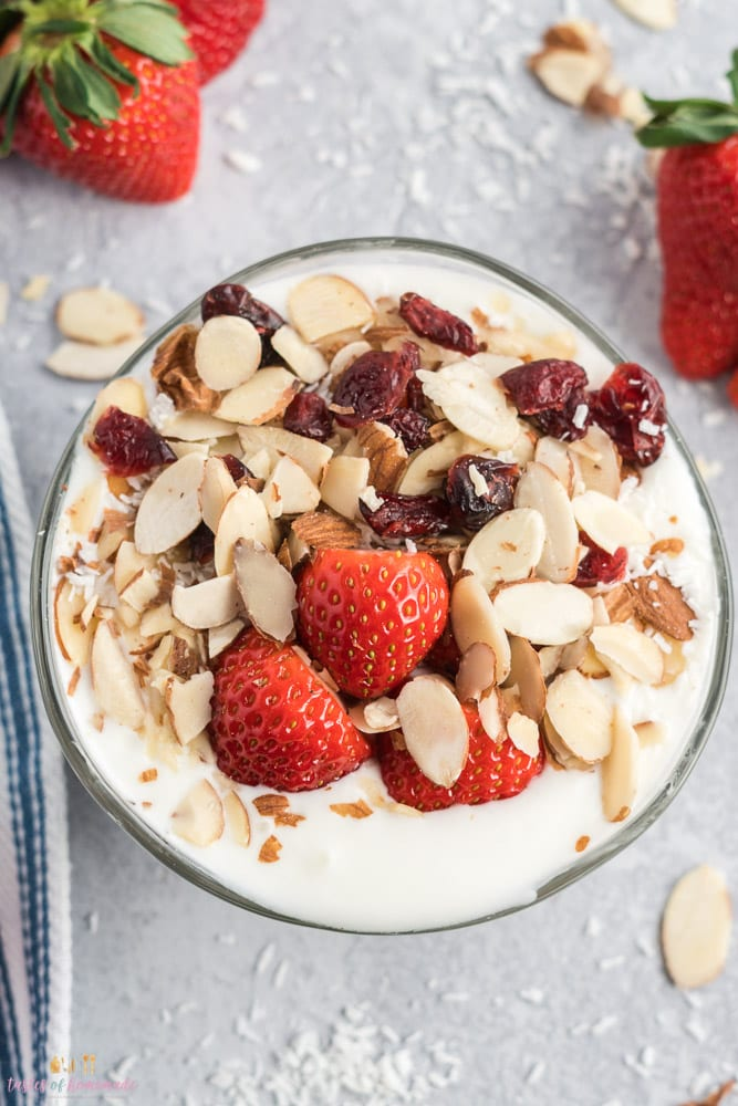 Bowl of instant pot yogurt with strawberries, almonds and cranberries