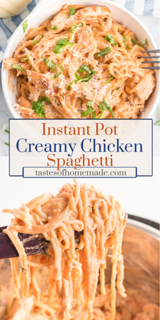 Instant pot creamy chicken spaghetti is a quick and easy meal with minimal ingredients and clean up. This spaghetti is made with only 4 ingredients and is on the table in about 30 minutes.  The cream cheese makes it super creamy, while the marinara sauce is rich and tangy.  A great weeknight meal, made in one pot, that the whole family will love.  #pasta #spaghetti #chicken #instantpot #onepot #quick #easy #weeknightmeal #creamy