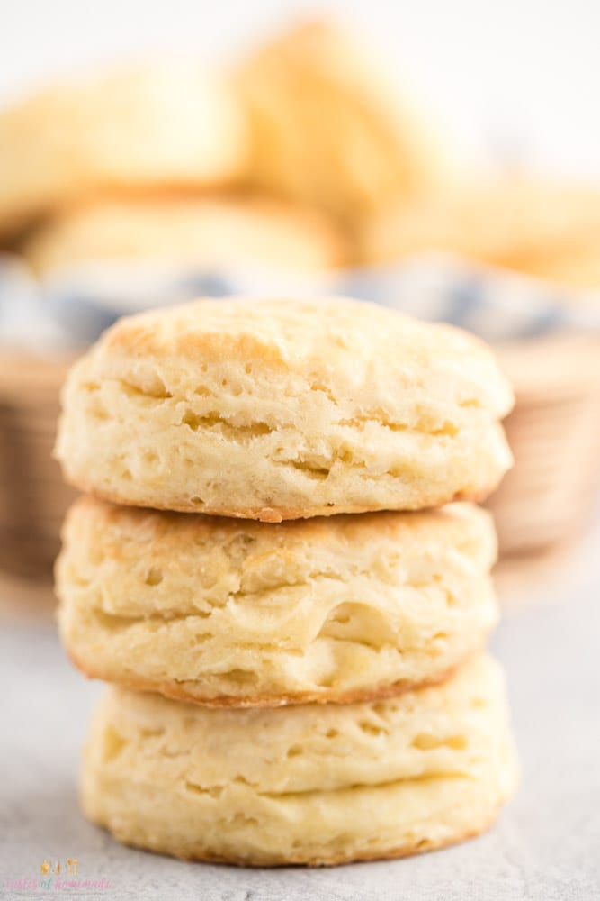 3 buttermilk biscuits in a stack