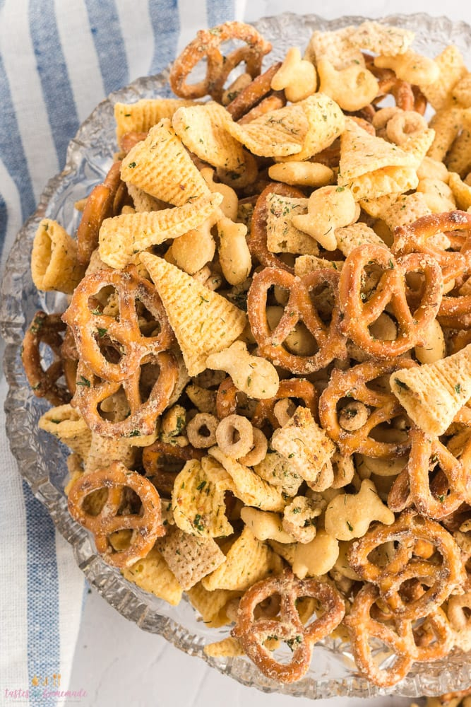 Close up view of ranch party mix