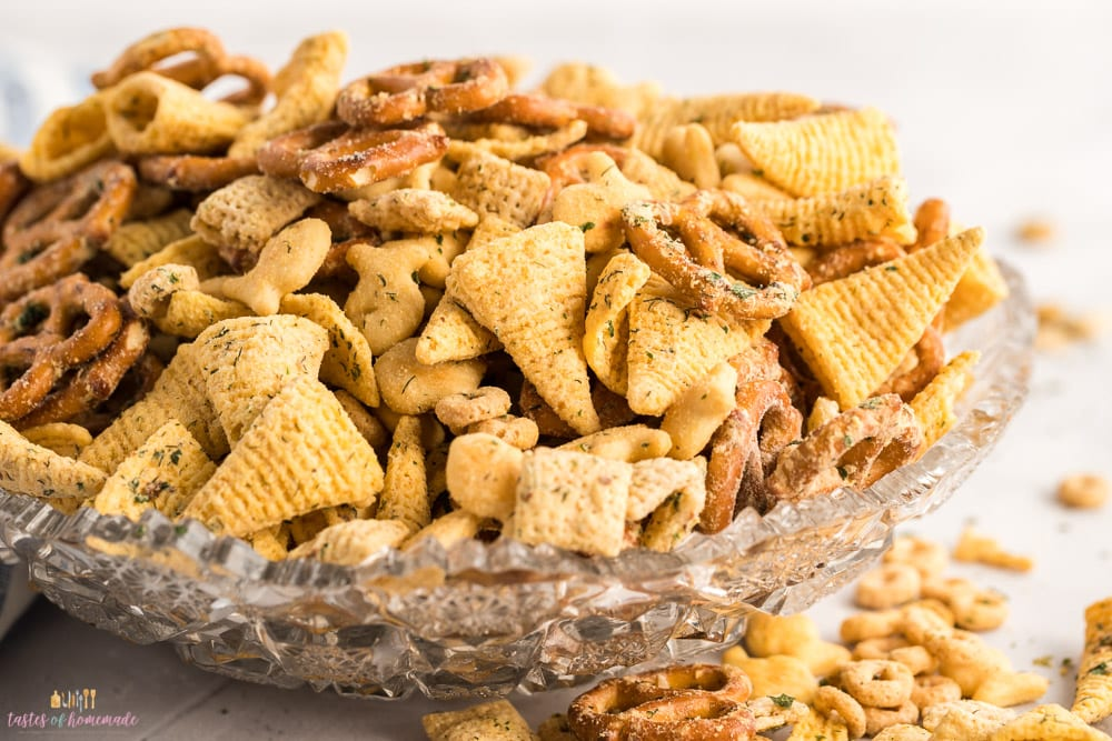 Ranch snack mix in a crystal bowl