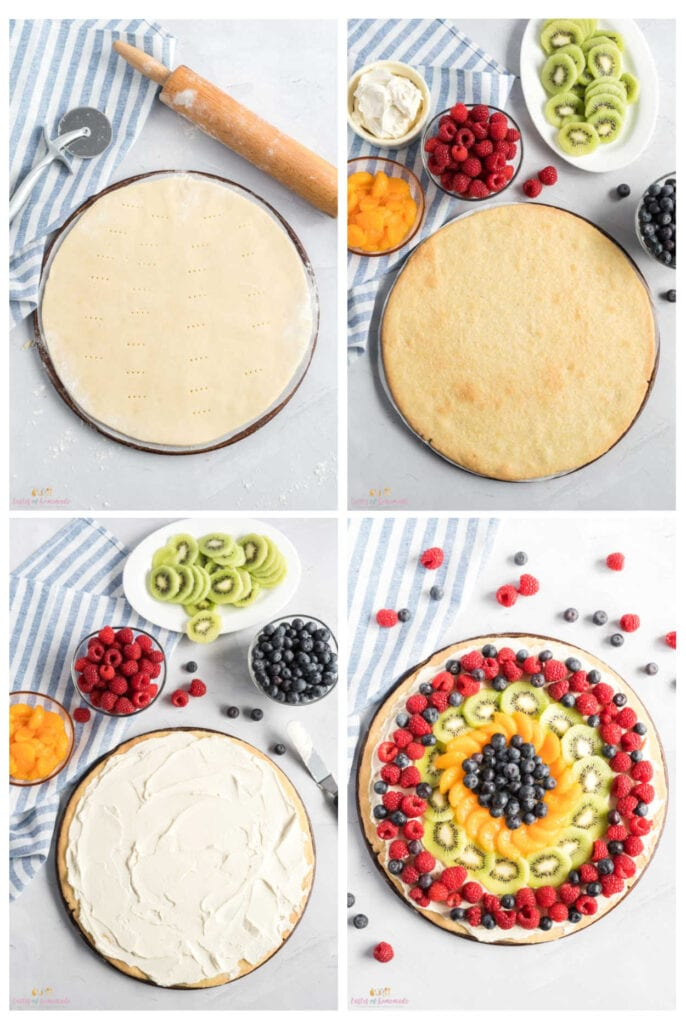 Step by step photos assembling a fruit pizza