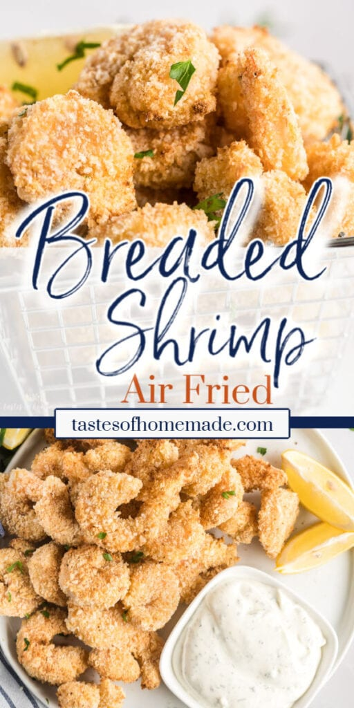 2 images of breaded shrimp with text overlay.
