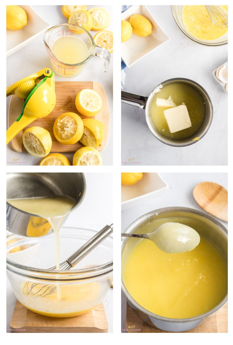 Photo showing steps to making lemon curd.