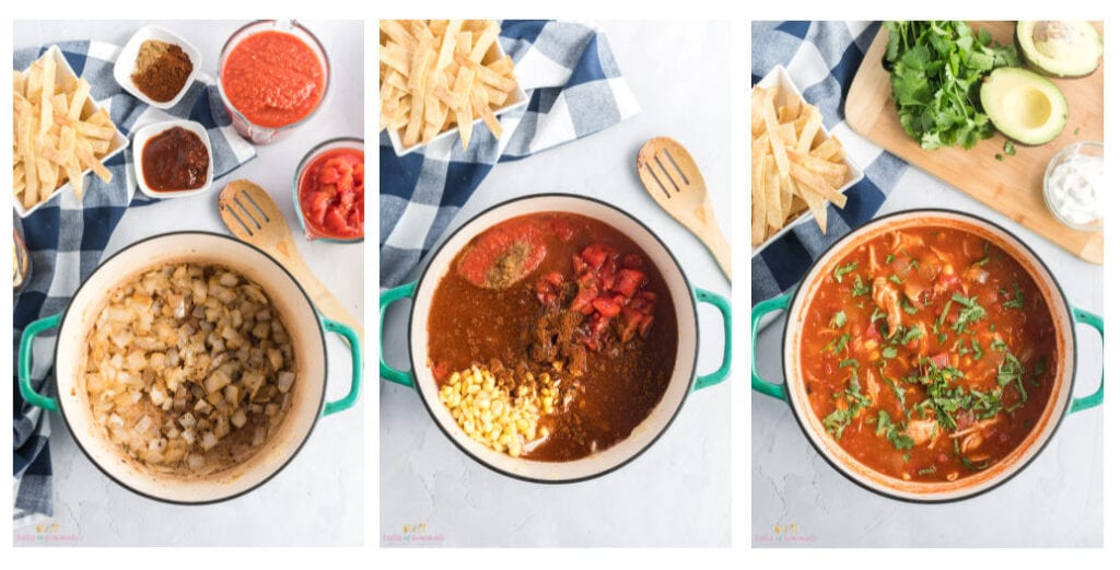 Photo collage showing steps to make chicken tortilla soup