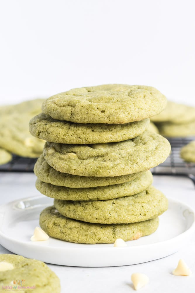 Stack of cookies on a white plate