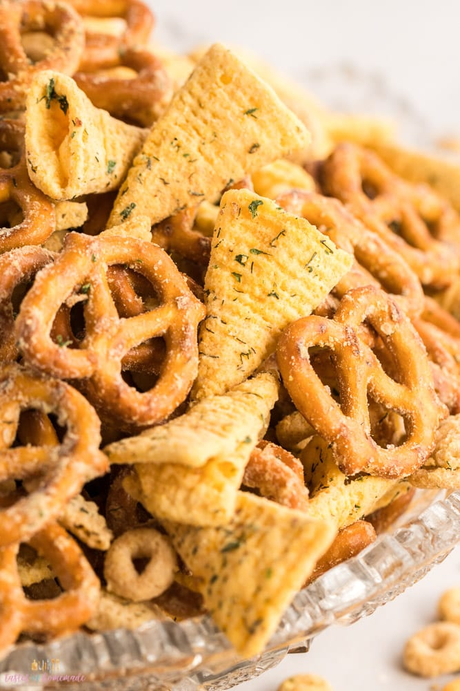 Close up view of ranch snack mix
