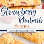Strawberry rhubarb scones with text