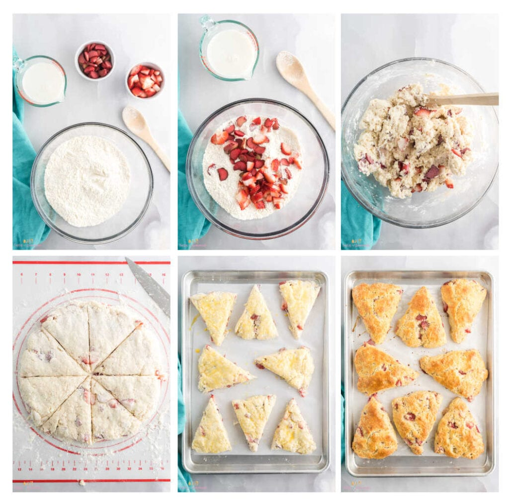Collage of photos showing steps to make scones