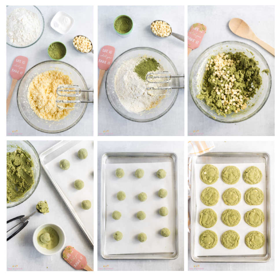 Collage of photos showing process to make cookies