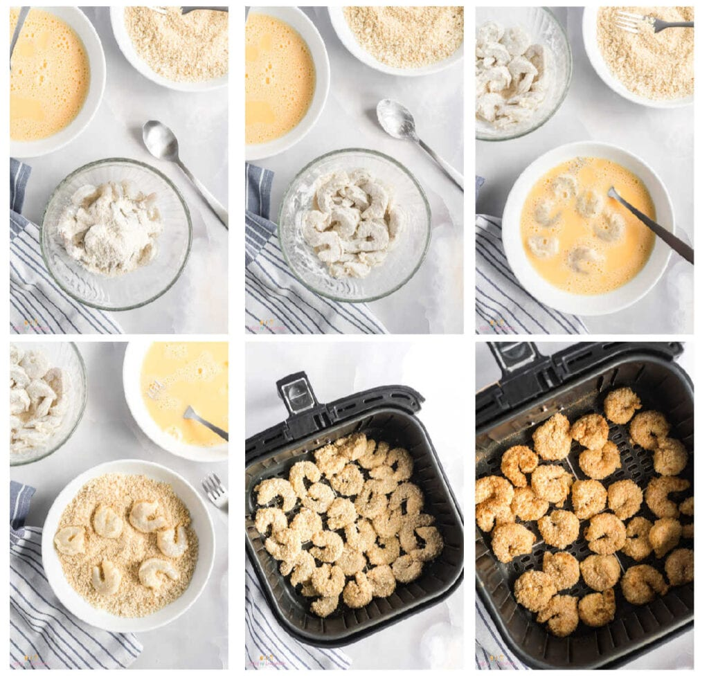 Collage of photos showing how to make breaded shrimp