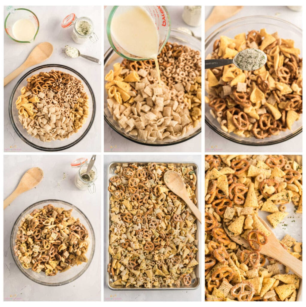 Collage of photos showing steps to making snack mix
