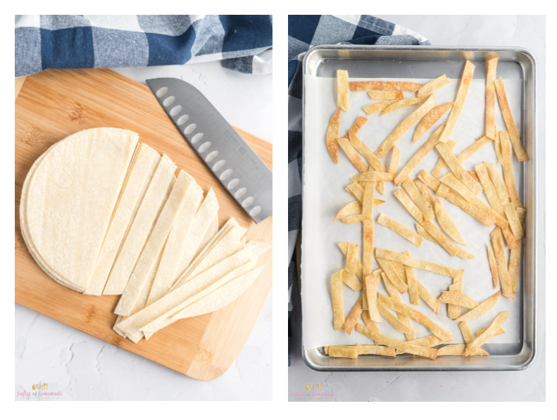 Photos showing steps to make tortilla strips